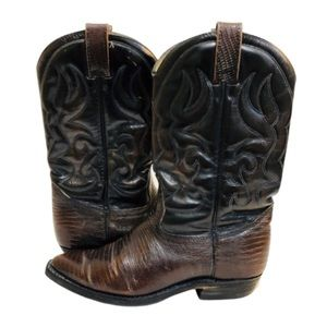 Vintage Western Leather Cowboy Boots Brown 7.5